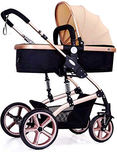 TZZ Baby Stroller High Landscape 360-degree Rotating Wheel Bidirectional Pushchair Buggy with 5-Point Harness for Newborn, Toddler
