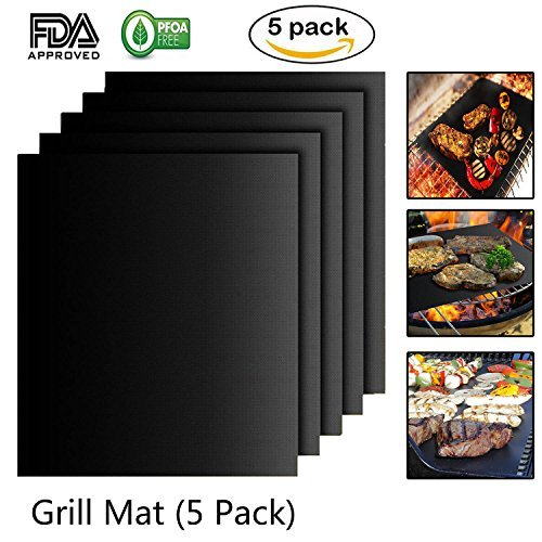 Maibtkey BBQ Grill Mat Set of 5, Nonstick Barbeque grill matGrill Cooking Mat FDA Approved PFOA-Free Reusable Easy to Clean for Charcoal, Electric and Gas Grill 15.75 X 13 Inch Black
