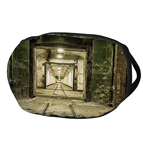 Fashion Cotton Antidust Face Mouth Mask,Antique Decor,Old Underground Bunker from Cold War Abandoned Ruined Building Artsy Picture,Beige Green,for women & men