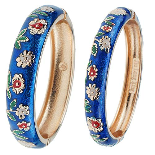 UJOY Cloisonne Bracelets Flower Enameled Cuff Hinged Bangles Gold Plated Girls Women's Gifts Jewelry 55C36 Sunflower Navy Blue ()
