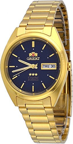 Orient #FAB00002D Men's 3 Star Standard Gold Tone Blue Dial Automatic Watch