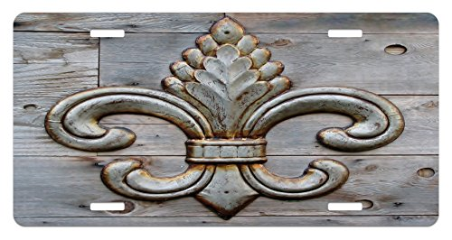 (Ambesonne Fleur De Lis License Plate, Ancient Lily Symbol on Weathered Old Wooden Planks Historical Theme Image, High Gloss Aluminum Novelty Plate, 5.88 L X 11.88 W Inches, Grey Brown)