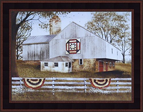 (American Star Quilt Block Barn by Billy Jacobs 15x19 Americana Flag Farm Country Folk Art Print Wall Décor Framed Picture)