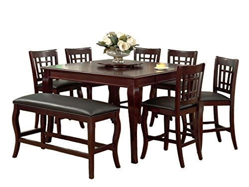 Milton Greens Stars 8818CH Burgos Counter Height Table with Lazy Susan, 54 by 54 by 36-Inch, Cherry
