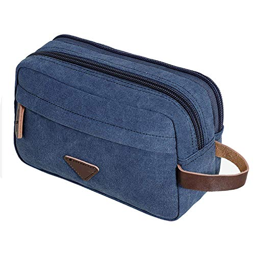 Men Travel Canvas Shaving Kits Cosmetic Makeup Organizer Women Toiletry Bag with Double Compartment Beauty Case,Blue