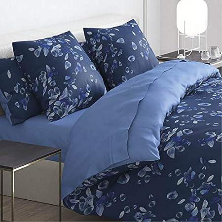 Cacharel – Funda nórdica 100% satén de algodón + 2 fundas – Reversible y fácil de planchar, Aurore Bleu, 240 x 220 cm: Amazon.es: Hogar