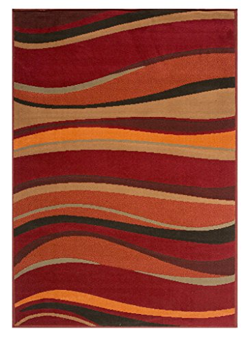 Soft Warm Red Brown Green and Burnt Orange Simple Modern Wave Living Room Bedroom Area Rug 5'3