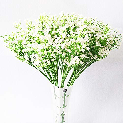 Artificial Flower - 10pcs Real Touchs Silk Fake Flowers - Romantic Bouquet Floral - for Bridal Hydrangea Wedding Party Home Decorations -Indoor/Outdoor Decor Gifts (White)