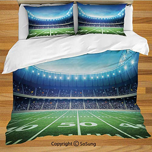 SoSung Football King Size Bedding Duvet Cover Set,Photo of American Stadium Green Grass Arena Playground Bleachers Event Match Decorative 3 Piece Bedding Set with 2 Pillow Shams,Blue Green White ()