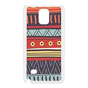 Colourful Hand Drawn Vector Aztec Pattern White Hard Plastic Case for Galaxy Note 4 by UltraCases + FREE Crystal Clear Screen Protector