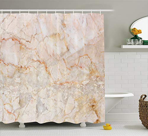 Ambesonne Marble Shower Curtain, Mine Pattern Design Natural Fractures Realistic Stained Surface Art Print, Fabric Bathroom Decor Set with Hooks, 70 Inches, Orange Brown ()