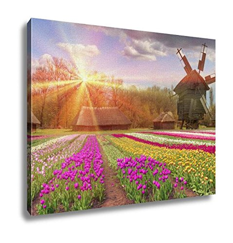 Ashley Canvas Fields Of Tulips In Village Wall Art Decoration