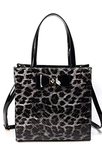 (lcolette Front And Back Leopard Print Accented Top Handle Tote Bag With Strap ddh067 (BLACK))