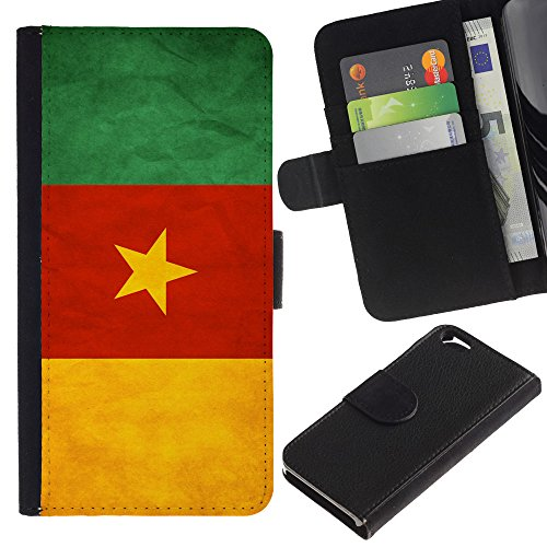 EuroCase - Apple Iphone 6 4.7 - Cameroon Grunge Flag - Cuir PU Coverture Shell Armure Coque Coq Cas Etui Housse Case Cover