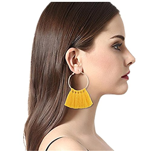 Clearance! Elogoog Large Hoop Earrings Gold Fashion Jewelry Women Girl Long Tassel Earrings (Yellow) 14k Yellow Gold Manual
