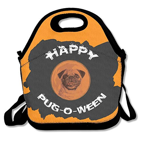 Happy Pug-O-Ween Halloween Pug Lunch Bag Tote Handbag Lunchbox For School Work Outdoor ()