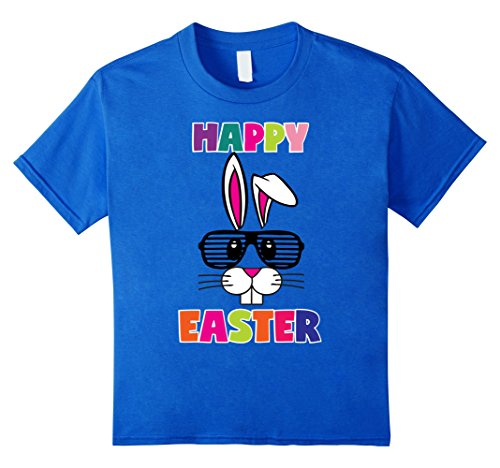 [Kids Happy Easter TShirt Easter Bunny Costume 80s Shutter Shades  6 Royal Blue] (Toddler 80s Costumes)