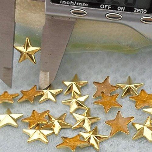 Beadsland Hotfix Iron On, 13x13mm Flat Back Stars Studs - 1/4 Flatback Glue on Studs 100pcs (Gold 13X13mm)