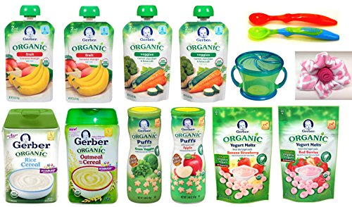 Gerber ORGANIC Baby Food Assorted Meals Gift Basket: Cereal, Puffs, Yogurt Melts, Food Pouches + Spoons, Snack Catcher, Bibs, Gift Card, Gift Box. For Babies, Crawlers and Toddlers Bundle of 16