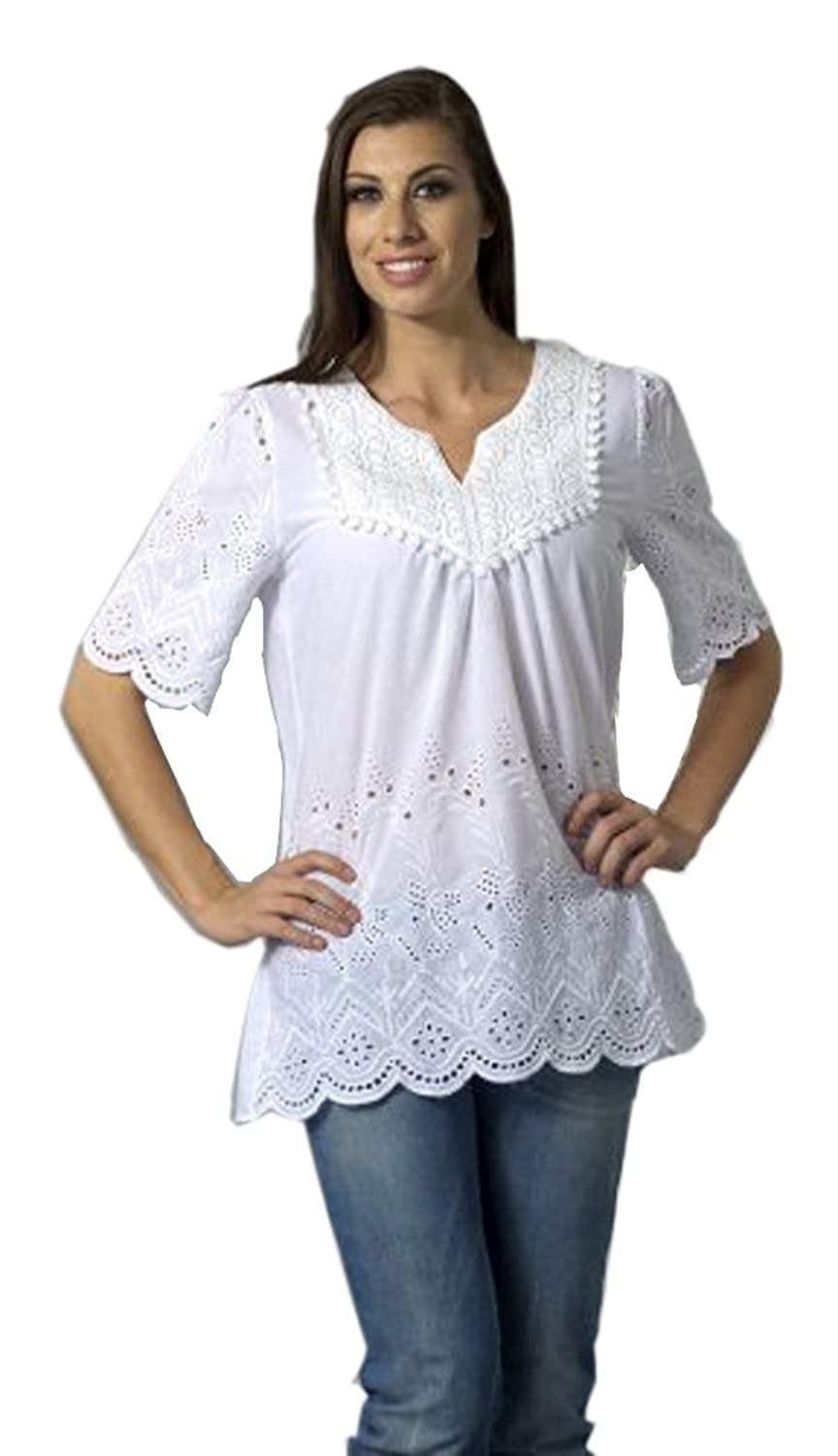 Bacci Clothing - Nelly, Peasant Blouse, Short Sleeve Button Front, Knitted Accents