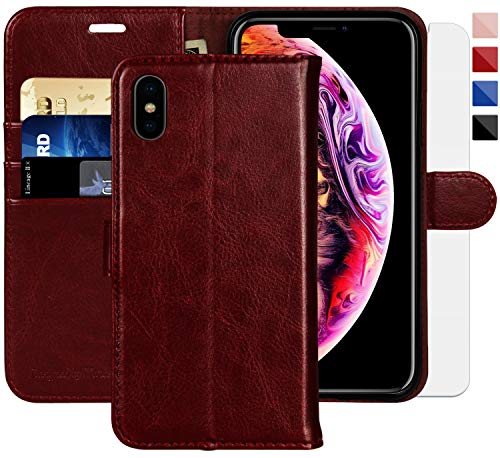 (iPhone X Wallet Case/iPhone Xs Wallet Case,5.8-inch,MONASAY [Glass Screen Protector Included] Flip Folio Leather Cell Phone Cover with Credit Card Holder for Apple iPhone)