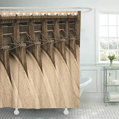 Semtomn Shower Curtain Army Black America Table Rock Dam Branson Missouri Blue Shower Curtains Sets with 12 Hooks 72 x 78 Inches Waterproof Polyester Fabric