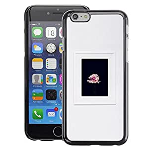 A-type Arte & diseño plástico duro Fundas Cover Cubre Hard Case Cover para Apple (4.7 inches!!!) iPhone 6 / 6S (Frame Spring Photo Flower Floral Grey)