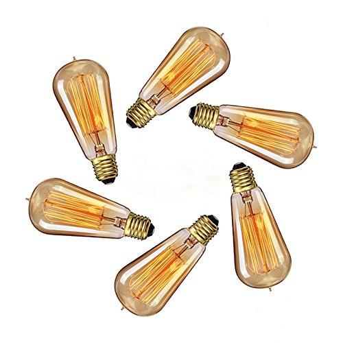 Amber Chandelier Incandescent (CTKcom Vintage Edison Light Bulbs(4 Pack)- 40W ST58 Vintage Squirrel Cage Filament E26/E27 base Lighting,Antique Incandescent Bulb,Vintage Teardrop Top Lamps for Home Light Fixtures E26/E27 110V-130V)