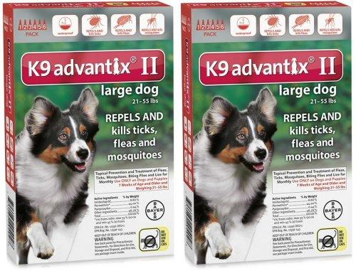 K9 ADVANTIX II Dog Flea & Tick 21-55 lbs Red 12 Month by Advantix