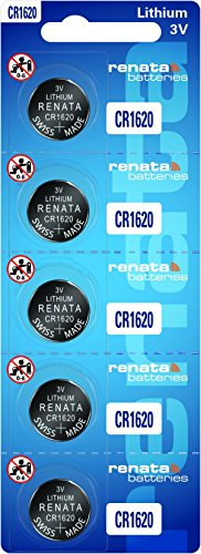 5 Pack, Renata-CR1620-3V-Lithium-Battery