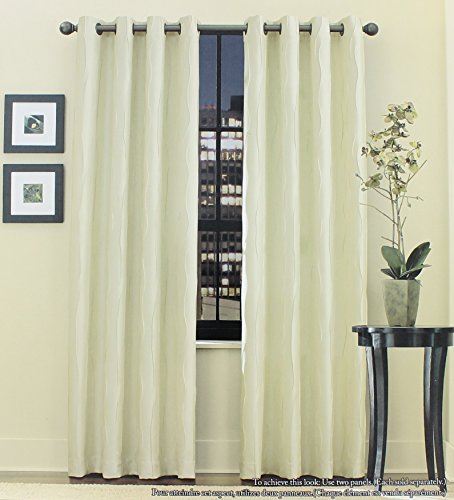 Venice Ivory Grommet Top Window Curtain Panel 52 inches x 18 inches