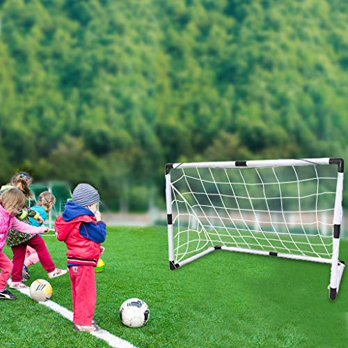 Transser 2PC Mini Soccer Goal, Portable Soccer Goal Set, Fun And Game Time Indoor And Outdoor, US Stock, shipping from CA. (White)