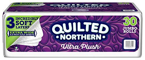 Quilted Northern Ultra Plush Toilet Paper, 30 Jumbo Rolls, 3-ply Extra Wide Bath Tissue, White, 5 Packs of 6 Jumbo Rolls (Toilet Paper Northern)