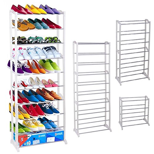 Adjustable 10 Tier Shoe Rack,Pagacat 30 Pair Floor Shoe Tower Space Saving Storage Tower Rack Organizer White[US Stock] - Tall Shoe Racks