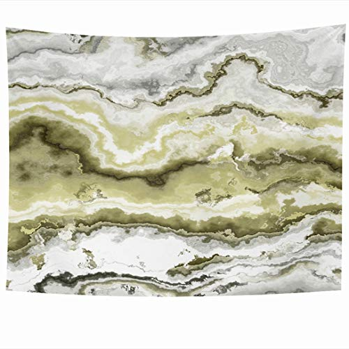 Ahawoso Tapestry 80x60 Inch Batu Green Agate Gem Stone Pattern African Jewel Nature Yellow Aluminosilicate Botswana Brazilian Tapestries Wall Hanging Home Decor for Living Room Bedroom Dorm (Agate Yellow Moss)