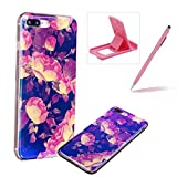 Silicone Case for iPhone 7 Plus,Herzzer Luxury Ultra Slim Stylish Blue Light [Peony Pattern] Dual Layers Protection Soft TPU Bling Sparkle Glitter Protective Designer Case Cover for iPhone 7 Plus 5.5 inch + 1 x Free Pink Cellphone Kickstand + 1 x Free Pink Stylus Pen