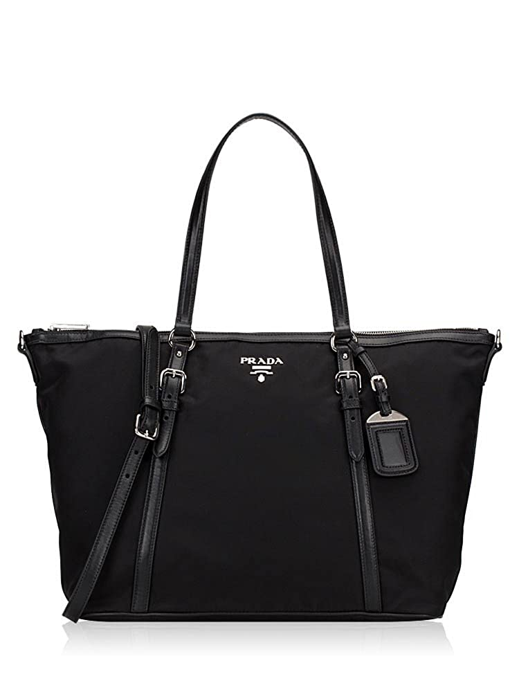 4ca27c36e9eb Prada Tessuto Saffian Black Nylon and Leather Shopping Tote Bag 1BG253:  Handbags: Amazon.com