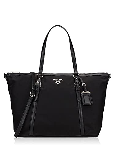 057e7b6c614810 Prada Tessuto Saffian Black Nylon and Leather Shopping Tote Bag 1BG253