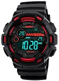 red and black - Fanmis Mens Digital LED Sports Watch Military Multifunction Dual Time Alarm Countdown Stopwatch 12H/24H Time Backlight 164FT 50M Water Resistant Calendar Month Date Day Watch (Red)
