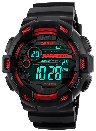 Fanmis Mens Digital LED Sports Watch Military Multifunction Dual Time Alarm Countdown Stopwatch 12H/24H Time Backlight 164FT 50M Water Resistant Calendar Month Date Day Watch (Red Polyurethane Watch)