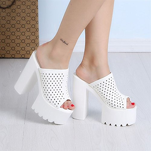 estate le basso le a pesce 14cm in pantofole tacchi di impermeabile trentaquattro tacchi in piedi dita dei bocca white brutto GTVERNH super scarpe piattaforma spessa 5AwpA1