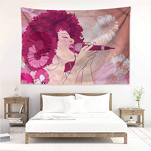 Sunnyhome Decorative Tapestry,Music Afro Woman Singing Jazz Songs,Literary Small Fresh,W71x59L