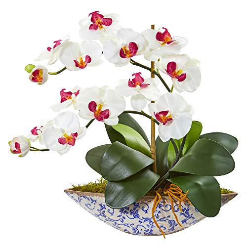 - Nearly Natural 1874-WH Phalaenopsis Orchid Artificial Vase Silk Arrangements, White