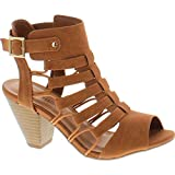 City Classified Womens Fashion Awesome Gladiator Strappy Chunky Block Heel Synthetic Lightly Padded Insole Sandals