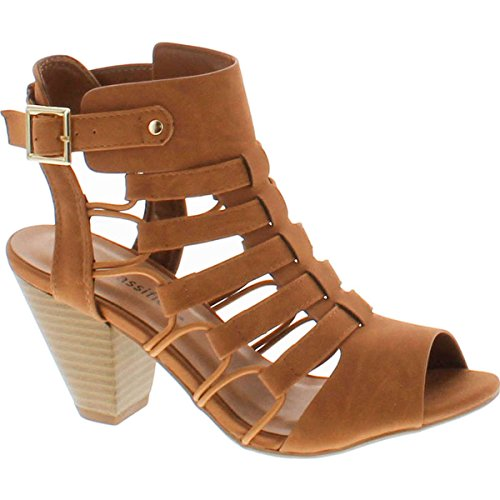 City Classified Awesome Gladiator Strappy Chunky Block Heel,Tan,6 ()