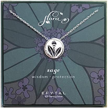 Flower Nature Themed 402 925 Sterling Silver Floral Sage Necklace Recovery Gifts for Women Good Luck Necklace Get Well Gift for Her