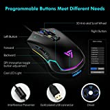 VicTsing Pro RGB Gaming Mouse Wired with 16.8 Million Chroma RGB Backlit, High Up to 7250 DPI, 6 Programmable Buttons Computer USB PC Gaming Mouse with 6 Adjustable DPI Levels, Ergonomic Grips - Black