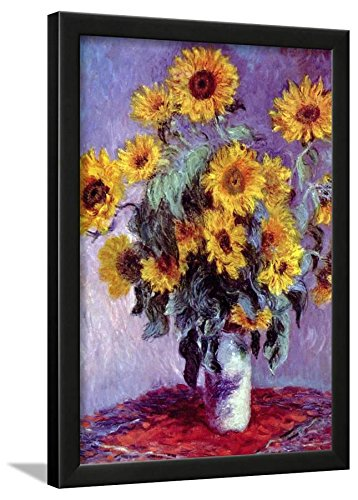 Claude Monet Still Life With Sunflowers Art Poster Print Framed Lamina Black