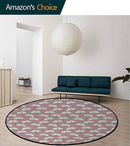 Botanical Area Rugs Ring 3D Non-Slip Rug,Ginkgo Leaves Pattern With Retro Effect Garden Rural Field Flowers Living Room,Bedroom,Desk/Chair Mats,Round Diameter-24 Inch,Mauve Taupe And Pale Mint