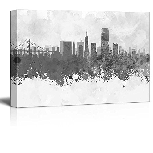 wall26 - Black and White City of San Francisco Golden Gate with Watercolor Splotches - Canvas Art Home Decor - 24x36 inches